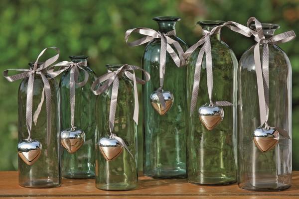 3x dekorative Flaschenvasen Bottle mit Herzanhänger Dekovase