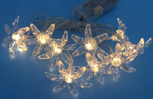 LED Lichterkette BLUME 10 flammig Dekoleuchte batteriebetrieben