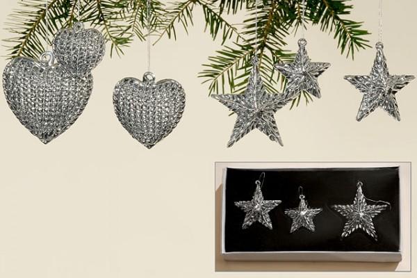 Weihnachtsbaumhänger Herzen & Sterne aus Metall im 2 x 3er Set