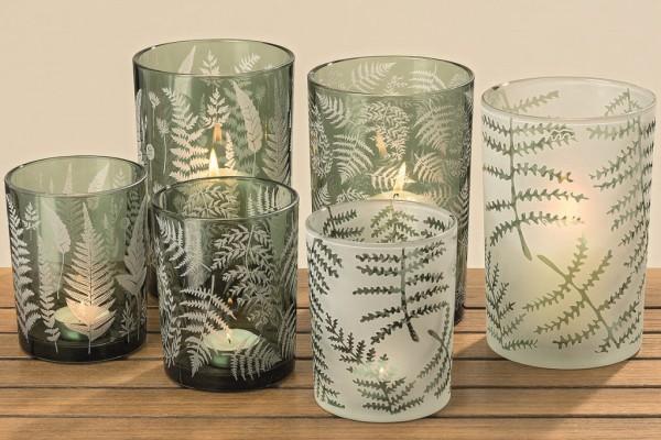 3 x Windlichter Farn im Set Glas Teelichthalter Kerzenhalter Dekovase