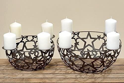 Kerzenleuchterschale Nelo groß Metal antikbraun