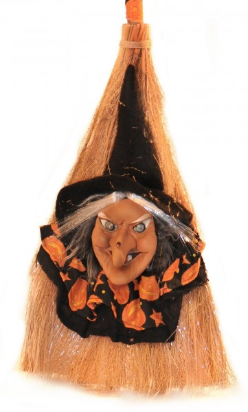 Halloween Reisigbesen mit Beleuchtung Broom Witch Dekobeleuchtung