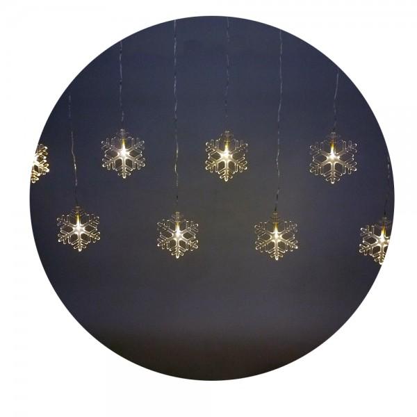 LED Lichtervorhang Schneeflocke 8-flammig Lichterkette, Fensterdeko