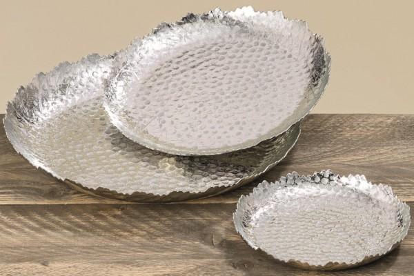 3 x Deko Teller im Set Angie in Silber-Optik Schale Tablett Platte