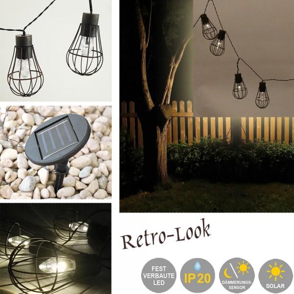LED Solar-Gitter-Lichterkette 10-flammig