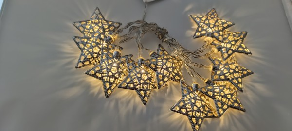 LED Lichterkette Silberstern L 135cm