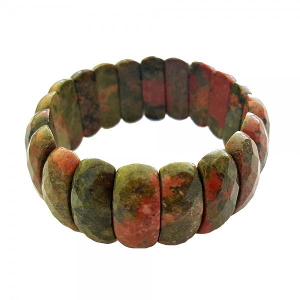 Elegantes Armband Rhyolith echte Steinen Steine facettiert Armschmuck