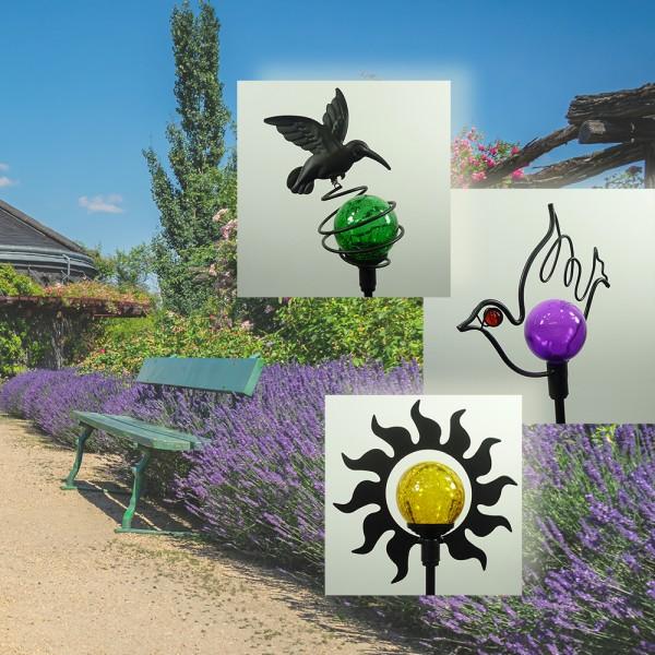 3 x LED-Solar-Außen-Garten-Leuchte Gartenstecker