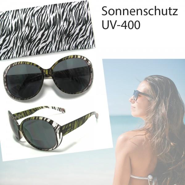 Damen-Sonnenbrille, Sonnen-Schutz mit UV-400-Schutz, Etui im gleichen Design Strand-Brille