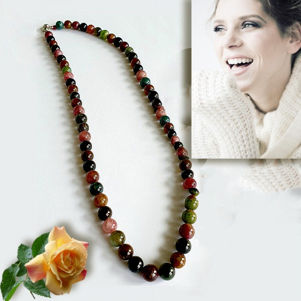 Hochwertige Turmalin Kugel-Halskette Edelstein Multicolor Naturstein-Damen-Kette