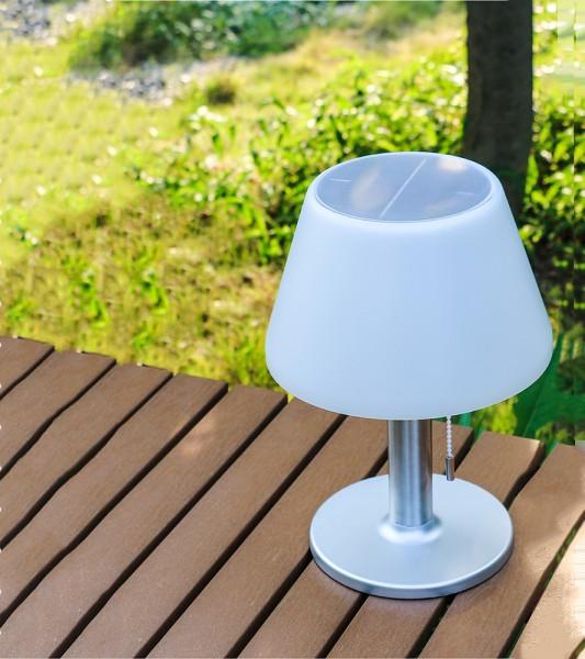 LED Solar-Tischleuchte JOLLA, warmweiß, mit Zugschalter 3-stufig