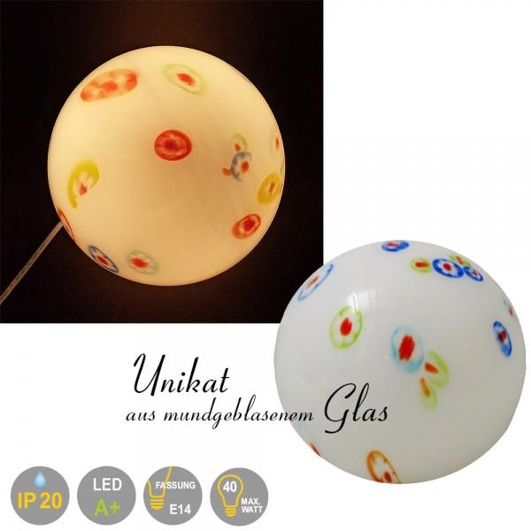 Tisch-Kugelleuchte, Unikat - mundgeblasenes Glas Venus,Jupiter