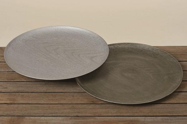 2er Platzteller silber Kunststoff D33cm