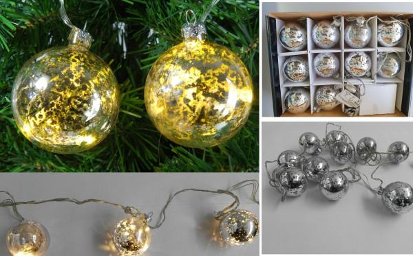 Lichterkette Antik Glaskugel für innen Weihnachtsdeko