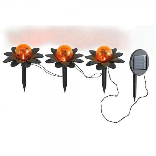 LED-Solar-Deko-Leuchte FLORA mit Spieß als 3er Set