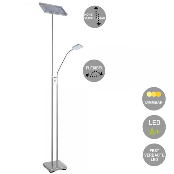 LED Stehleuchte Loren Deckenfluter mit Leseleuchte und Dimmfunktion