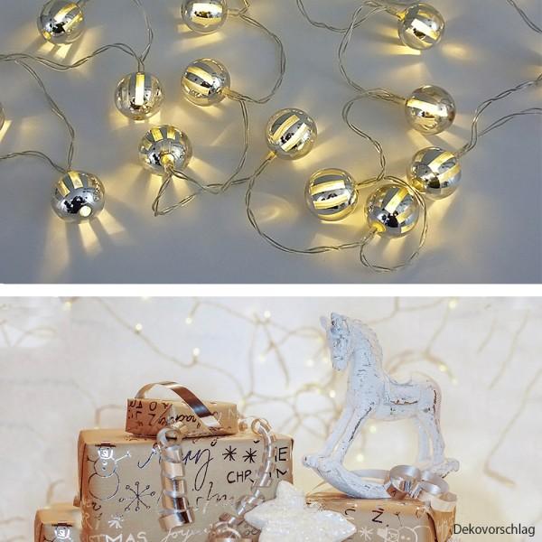 LED Lichterkette Glanzkugeln 20 flammig batteriebetrieben Dekoleuchte