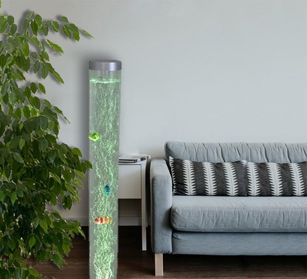 Deko-Wassersäule LED farbwechselnd und 6 Fischen Stimmungslampe