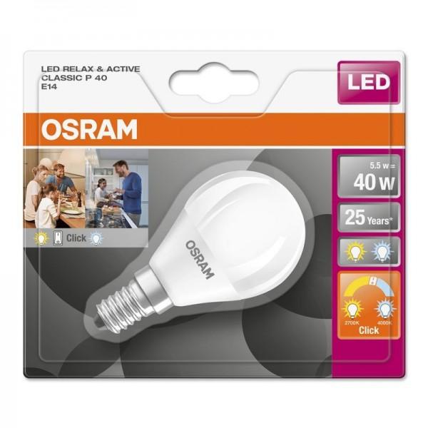 LED Leuchtmittel E14 Tropfenform matt Relax& Active