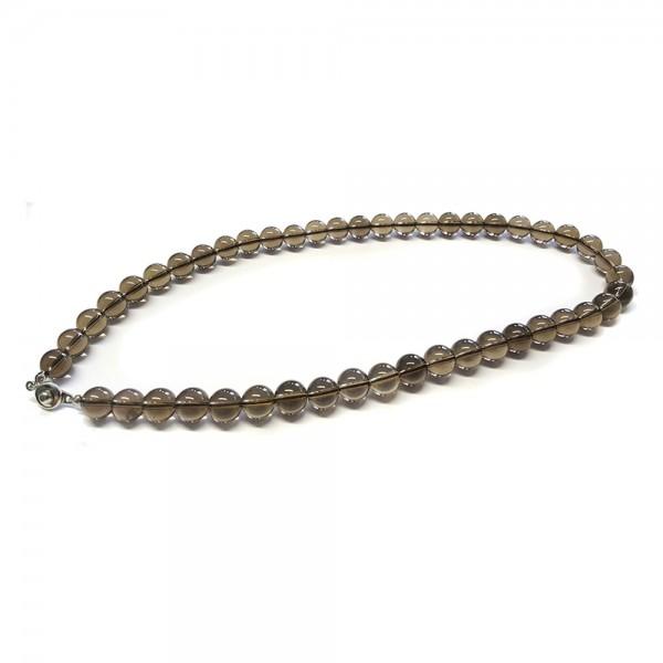 Rauchquarz-Halskette Kugelkette Kristall-Naturstein-Kette