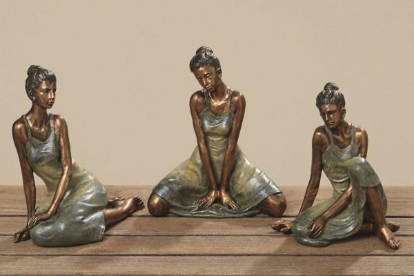 Wunderschöne Dekofiguren Yoga Frau im 3 er Set Skulptur Geschenkidee