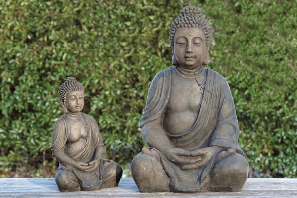 Fernöstliche Buddha-Skulptur betend Garten-Dekofigur Geschenkidee