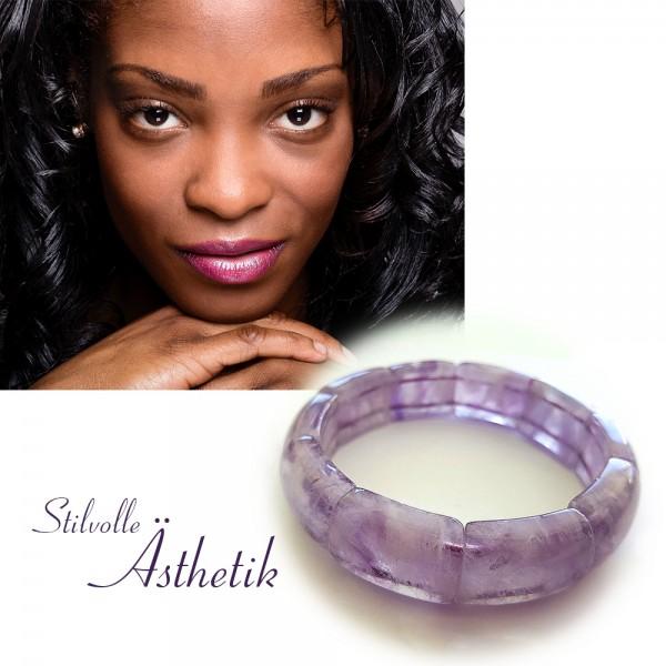 Wunderschönes Edelstein Armband aus Amethyst Violett Ovalform flexibel