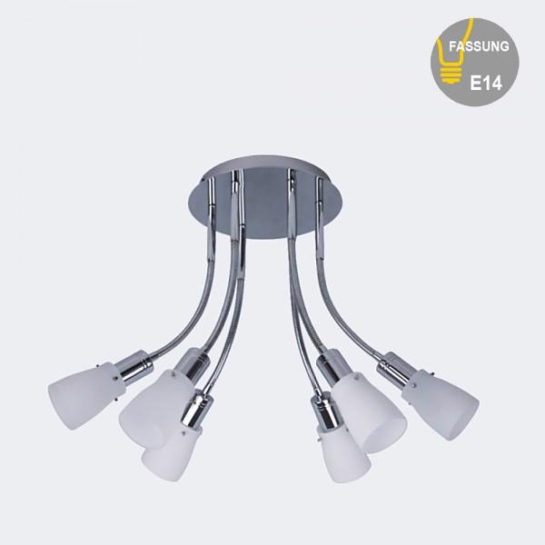 Energiesparende Decken-Pendelleuchte ZARA 6 flammig mit Flexarmen