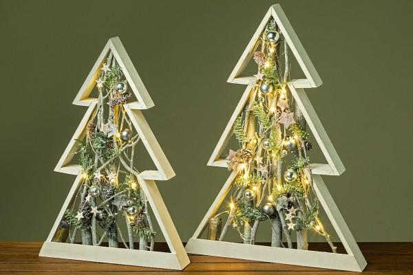 LED Objekt Baum Blauglockebaum grau Weihnachtsdeko