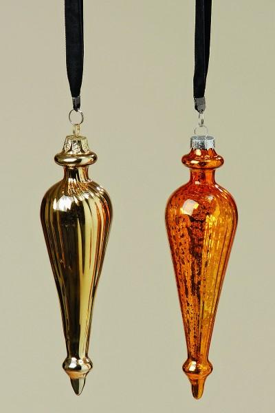 Hänger Aris 2sort L70cm lackiertes Glas, gold