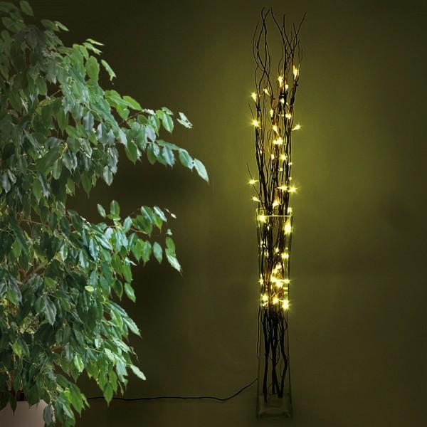LED Lichterzweige 100cm braun 50 LED*0,06 wweiß, 2700K, Kabel 3m