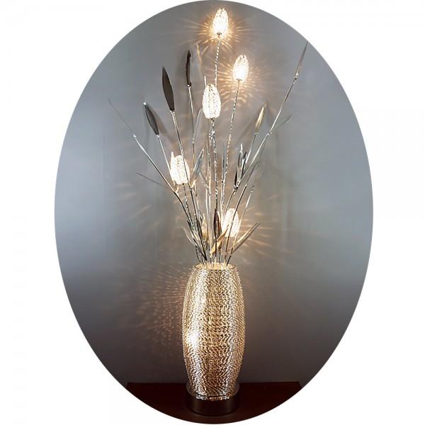 Stehleuchte TAMERA 7 flammig Alu-Drahtgeflecht Boden-Standlampe Blumenleuchte