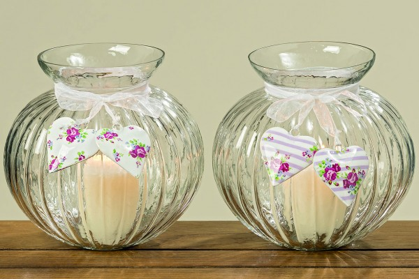 Windlicht ODETTE Kerzenleuchter Kerzen-Teelichthalter Vase