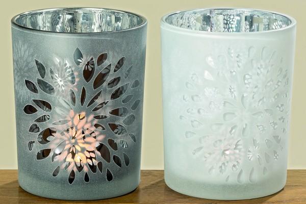 Windlichter Dahlina im Set Glas Teelicht-Kerzenhalter Tischdekoration