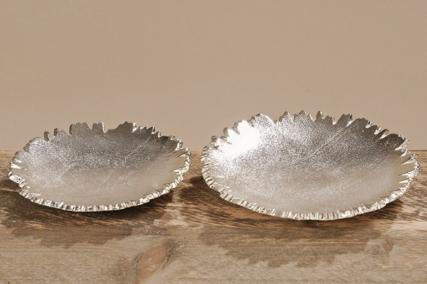 Außergewöhnliche Deko Tellerset PAOLO aus Aluminium