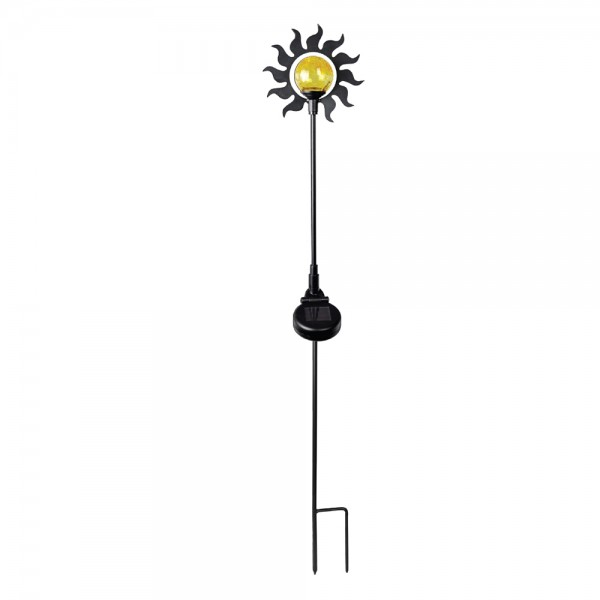 """LED-Solarfigur """"Sonne"""" mit Erdspieß, Metall und Glas-Kugel"""