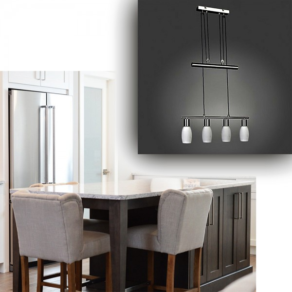 Energiesparende Pendel-Glas-Decken-Leuchte MERLE mit Gegenzug