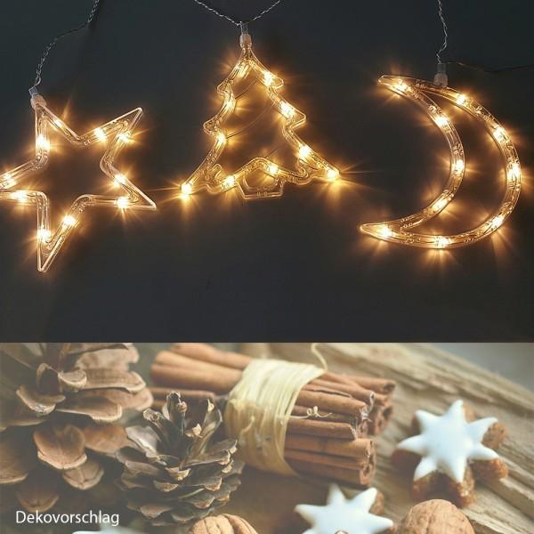 LED Lichterkette Stern-Mond-Baum Fenster-Weihnachtsbeleuchtung