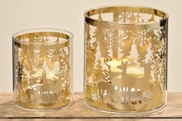 Windlichter Kendell H8+11cm Metall/Glas gold