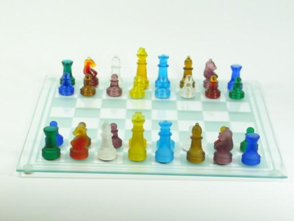 Glas Schachbrett 25 x 25cm mit Glasfiguren