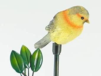 Solar Gartenstecker Vogel grau-gelb/schw. 1x NIMh-600mAh, 1 LED gelb, H82 cm