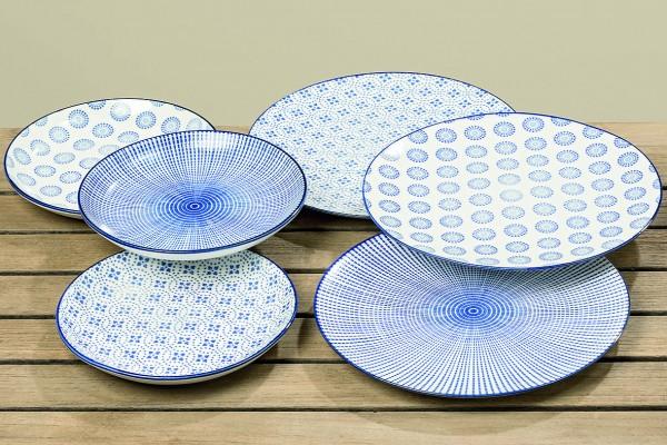 3 x Teller Adriana Keramik weiß-blau Dessert-Kuchen-Teller
