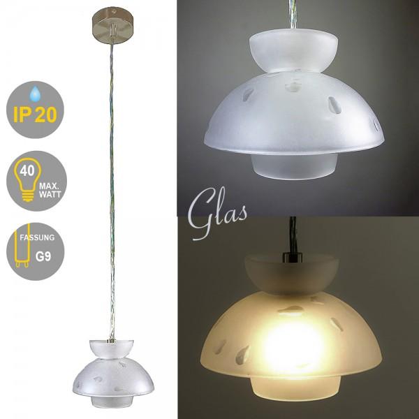 Halogen Pendel-Glas-Leuchte DROPS 1-flammig Thekenlampe Bar-Leuchte