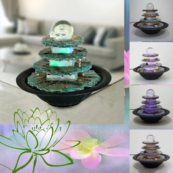 Zimmerbrunnen Terrasse rund LED farbwechselnd Raum-Luft-Befeuchter