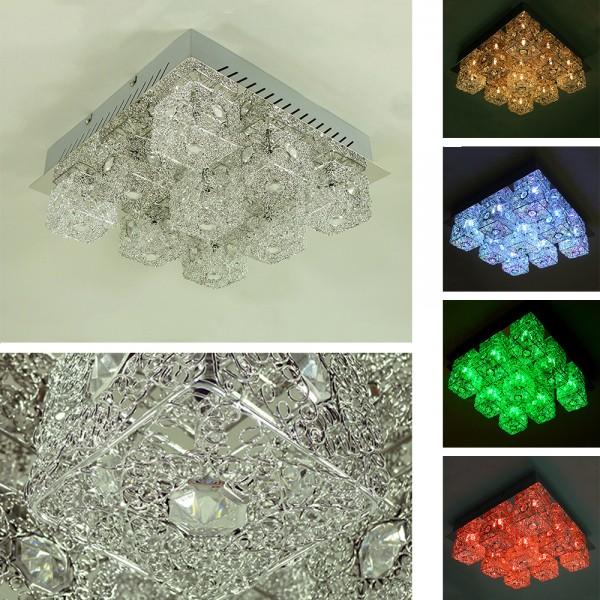 Moderne Halogen + LED Deckenleuchte CHRYSTA farbwechselnd mit Fernbedienung