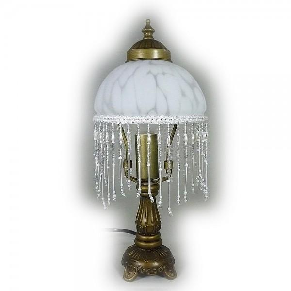 LED Tischleuchte Landhausstil WEIDE messing-antik Glasschirm