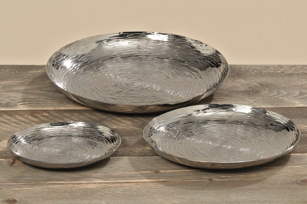 Deko Teller TIES im 3 er Set Aluminium Tablett Kerzenhalter