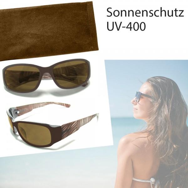 Damen-Sonnenbrille, Sonnen-Schutz mit UV-400-Schutz, Etui im passenden Design, Strand-Brille
