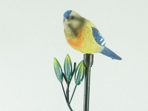 """Wunderschöner LED Solar-beleuchteter """"Vogel"""" gelb-grau-blau aus halbdurchsichtigem Polyethylin"""