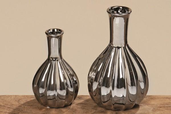 Vase Maseru Steingut, silber